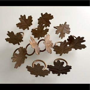 Other - Metal Fall Leaves Napkin Rings